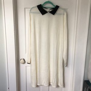 White long sleeve dress with black collar